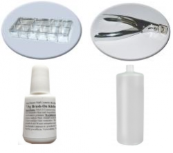 Set mit 500 Stiletto Clear  Tipbox, 1 Nail Cutter silber , 7,5g Brushkleber und 100 ml Cleaner