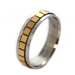 Edelstahlring Silber-gold  Nr. 66***mit RINGBOX