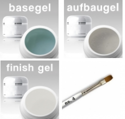 3-Phasen UV Gel SET/ Haft- / Aufbau / Finishgel klar  3 x 50 ml + Gelpinsel Nr. 8