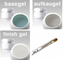3-Phasen UV Gel SET/ Haft- / Aufbau / Finishgel klar  3 x 15 ml + Gelpinsel Nr. 8