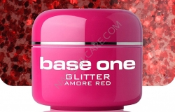1 LITER  BASE ONE GLITTERGEL AMORE RED  NR. 16