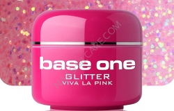 4 ml BASE ONE GLITTERGEL  VIVA LA PINK**NR. 12