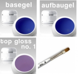 3-Phasen UV Gel SET/ Haft- / Aufbau / Finishgel violett-blue****  3 x 15 ml + Gelpinsel Nr. 4